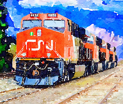 CN Train Watercolour