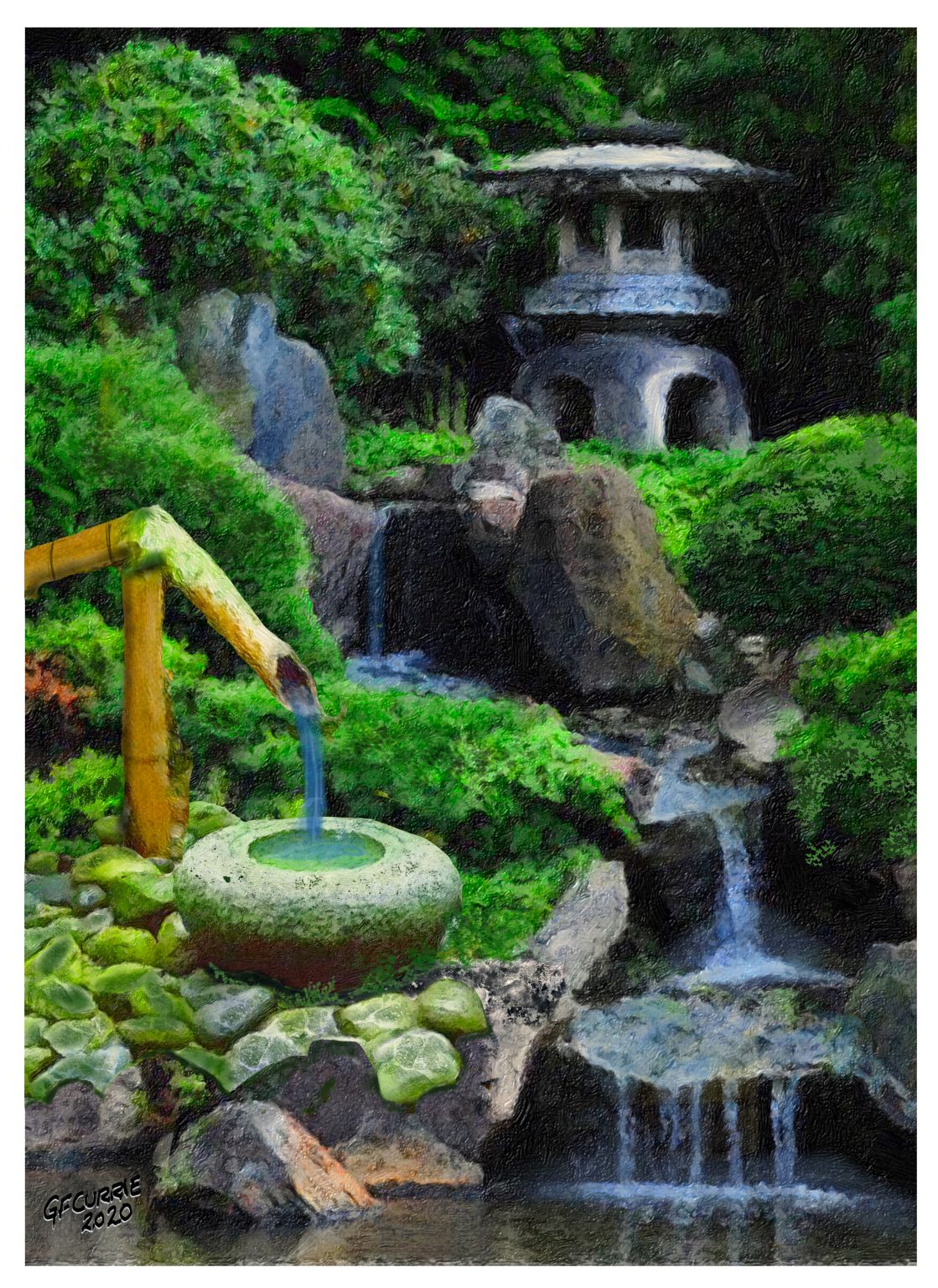 Japanese Waterfall and Bowl