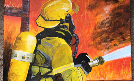 Firefighters, Emergency Scenes, High Intensity Action Paintings